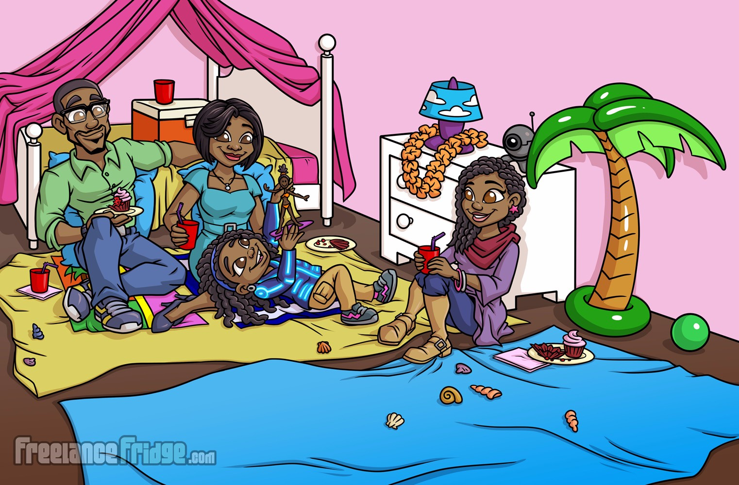 Childrens Book African American family illustrations pages 17 and 18