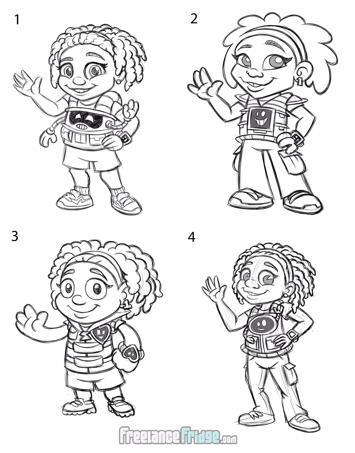 Childrens Book Girl character Halyn concept sketches