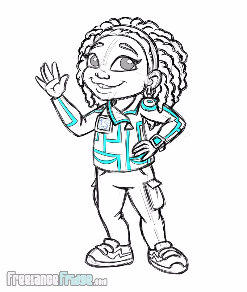 Childrens Book Girl character Halyn final concept drawing