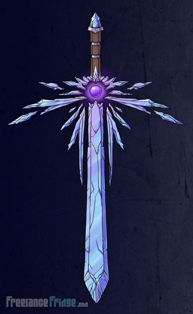 Crystal one-handed Sword blade weapon concept final color glowing for video game