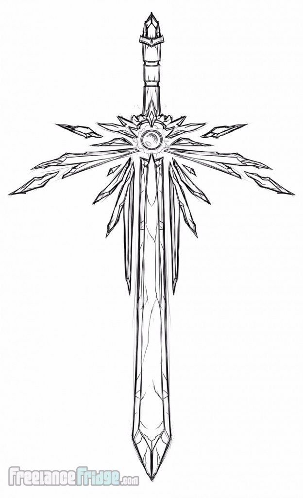 Crystal one-handed Sword blade weapon concept sketch for video game