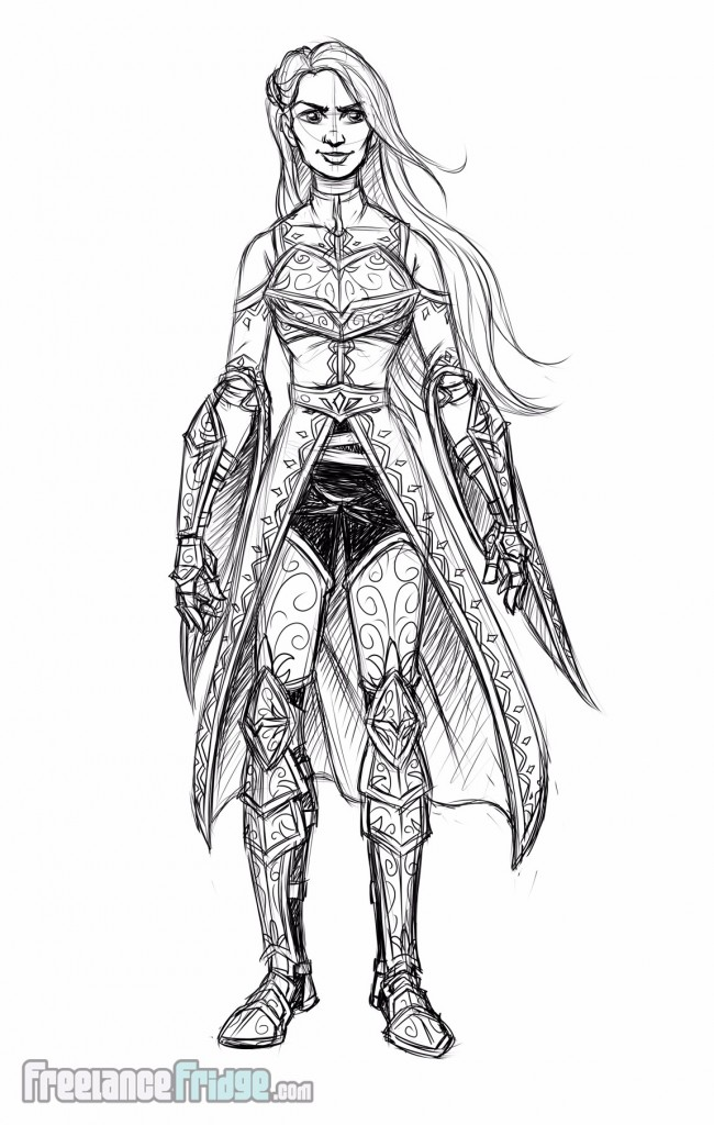 Female Knight Warrior Woman wearing armor cloak character concept sketch for video game