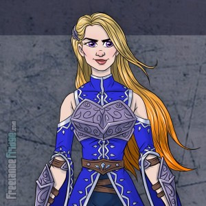 Female Warrior Knight Woman wearing armor cloak color character concept artwork front close up for video game