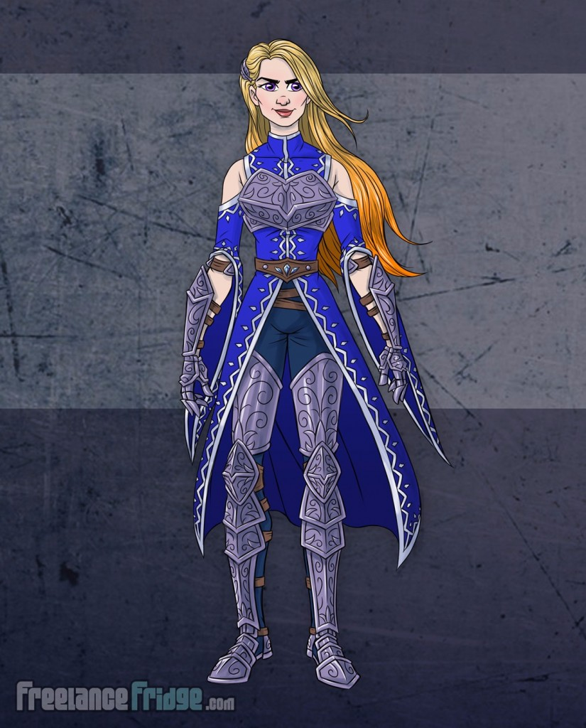 Female Warrior Knight Woman wearing armor cloak color character concept artwork front view for video game