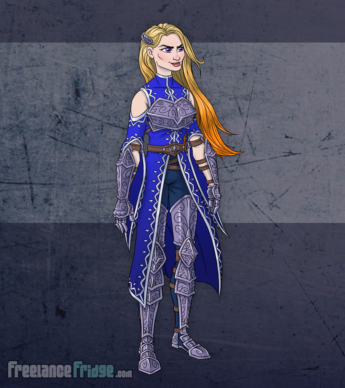 Female Warrior Knight Woman wearing armor cloak color character concept artwork three quarters 3/4 view for video game