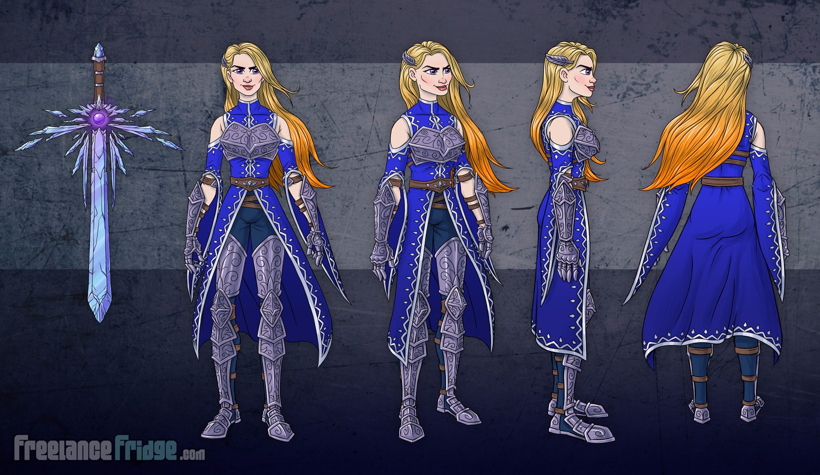 Female Warrior Knight Woman Girl wearing armor cloak color character concept artwork turnaround views for video game