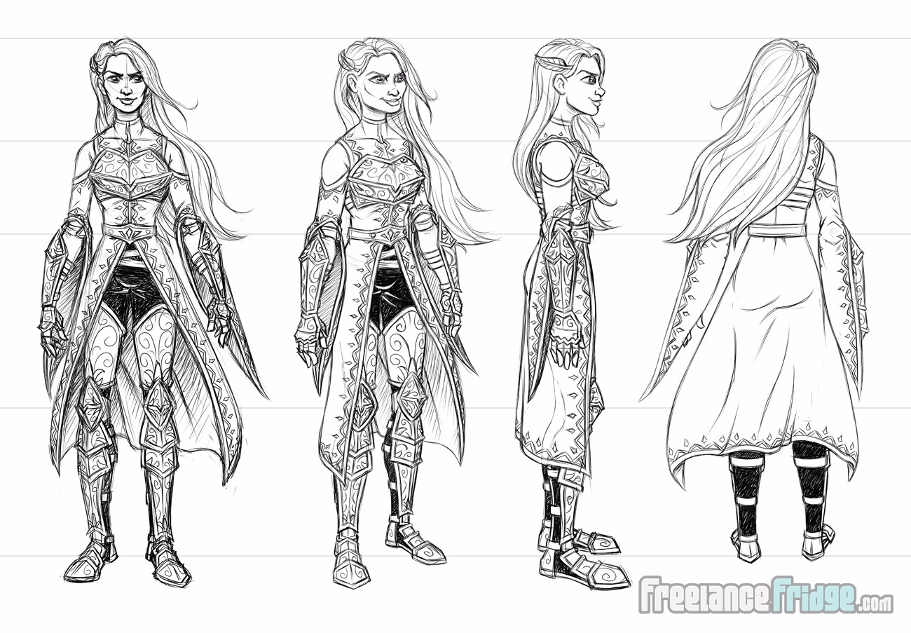 Female Warrior Knight Woman wearing armor cloak turnaround concept sketches