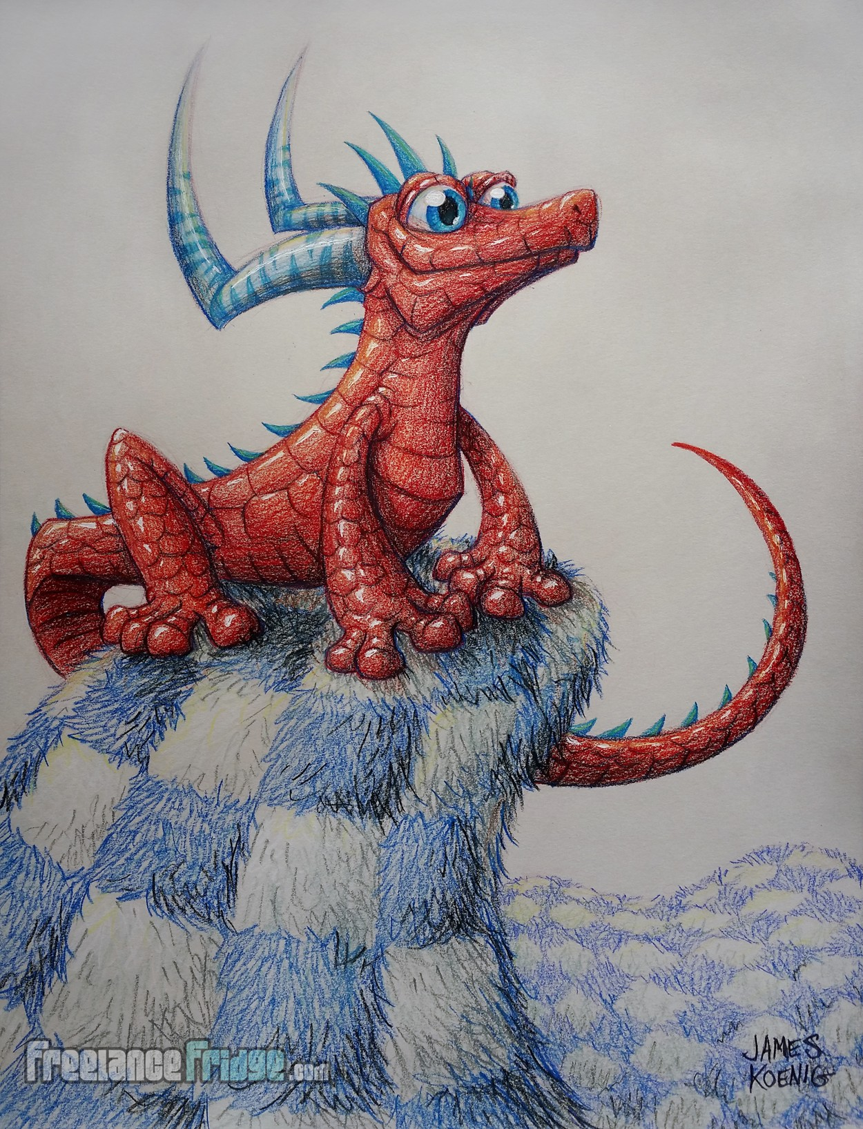New Updated Redrawn Cartoon Colored Pencil Drawing of Red Lizard Creature with Horns