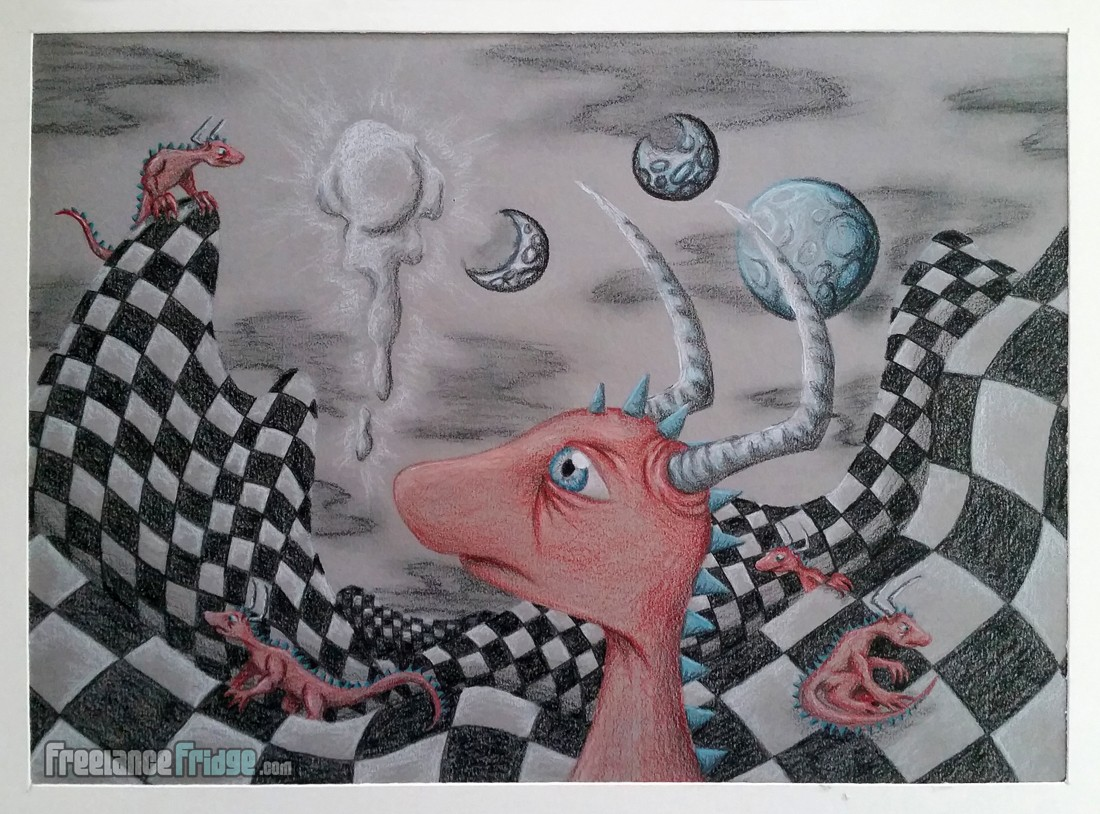 Old High School Cartoon Colored Pencil Drawing of Red Lizard Creature with Horns
