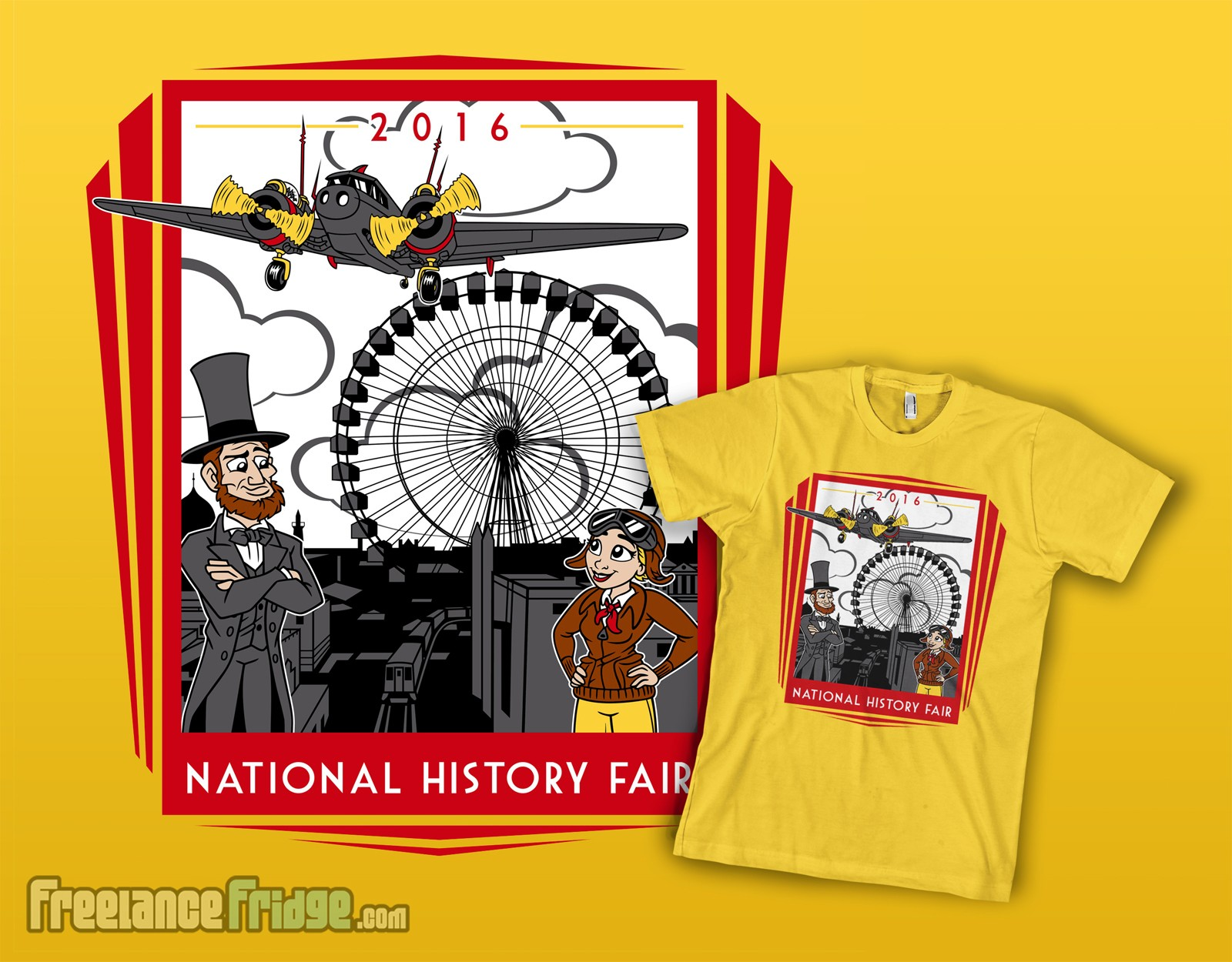 Abraham Lincoln Amelia Earhart national history bee kids t-shirt design