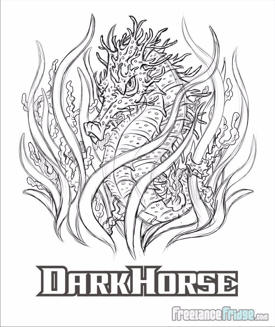 Dark Horse Mean Cool Seahorse T-shirt Sketch Stage Artwork Design
