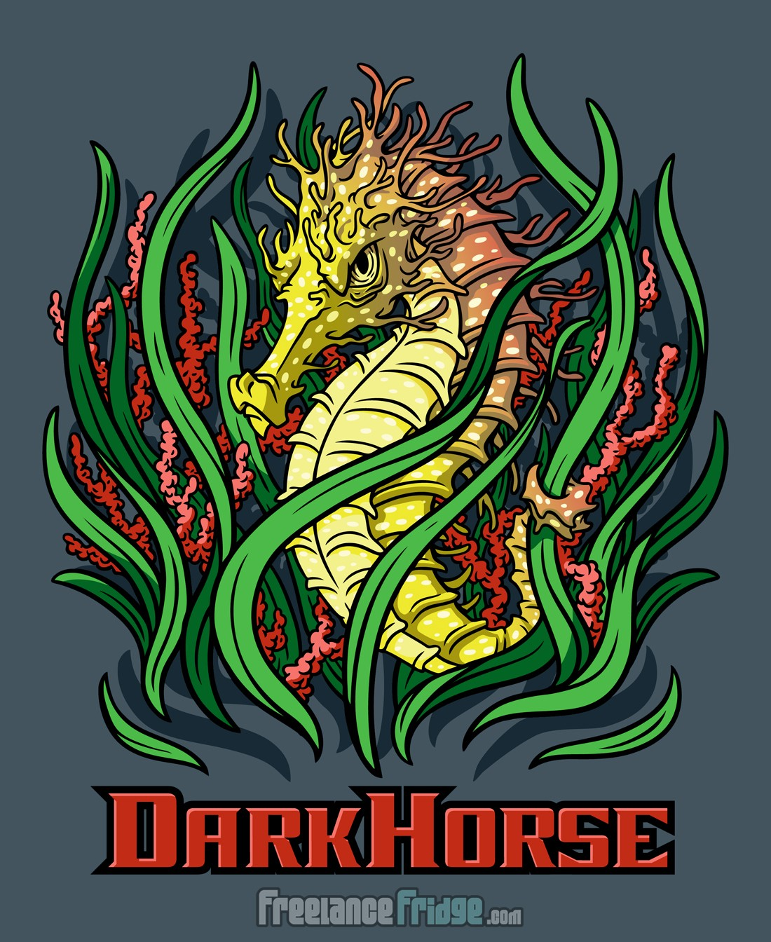 Dark Horse Tough Mean Cool Seahorse T-shirt Vector Artwork Design