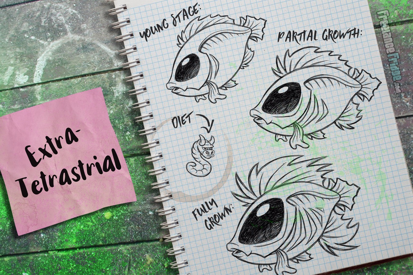 Fish Creature Concept Artwork Sketches Extraterrestrial Alien Big Eyes