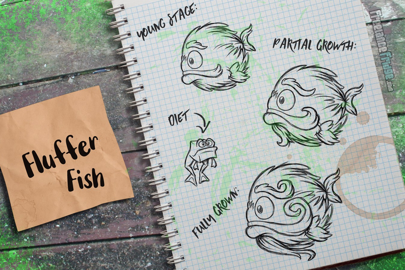 Fish Creature Concept Artwork Sketches Mustached Hairy Fluffy Puffer Fish