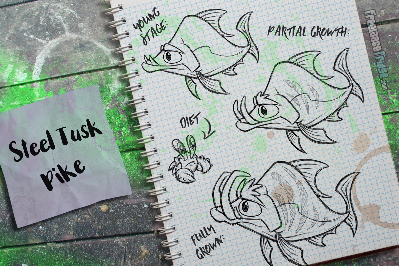 Fish Creature Concept Artwork Sketches Tusked Striped with Eyebrows Fish