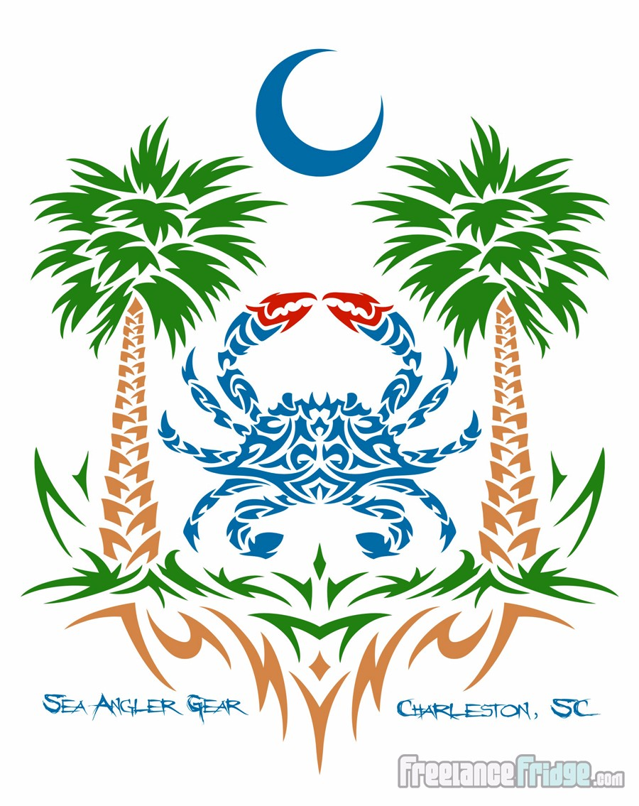 0137b9b92 Tribal Blue Crab Beach Fishing Palmetto Tree with Crescent Moon T-Shirt  Design Full Back