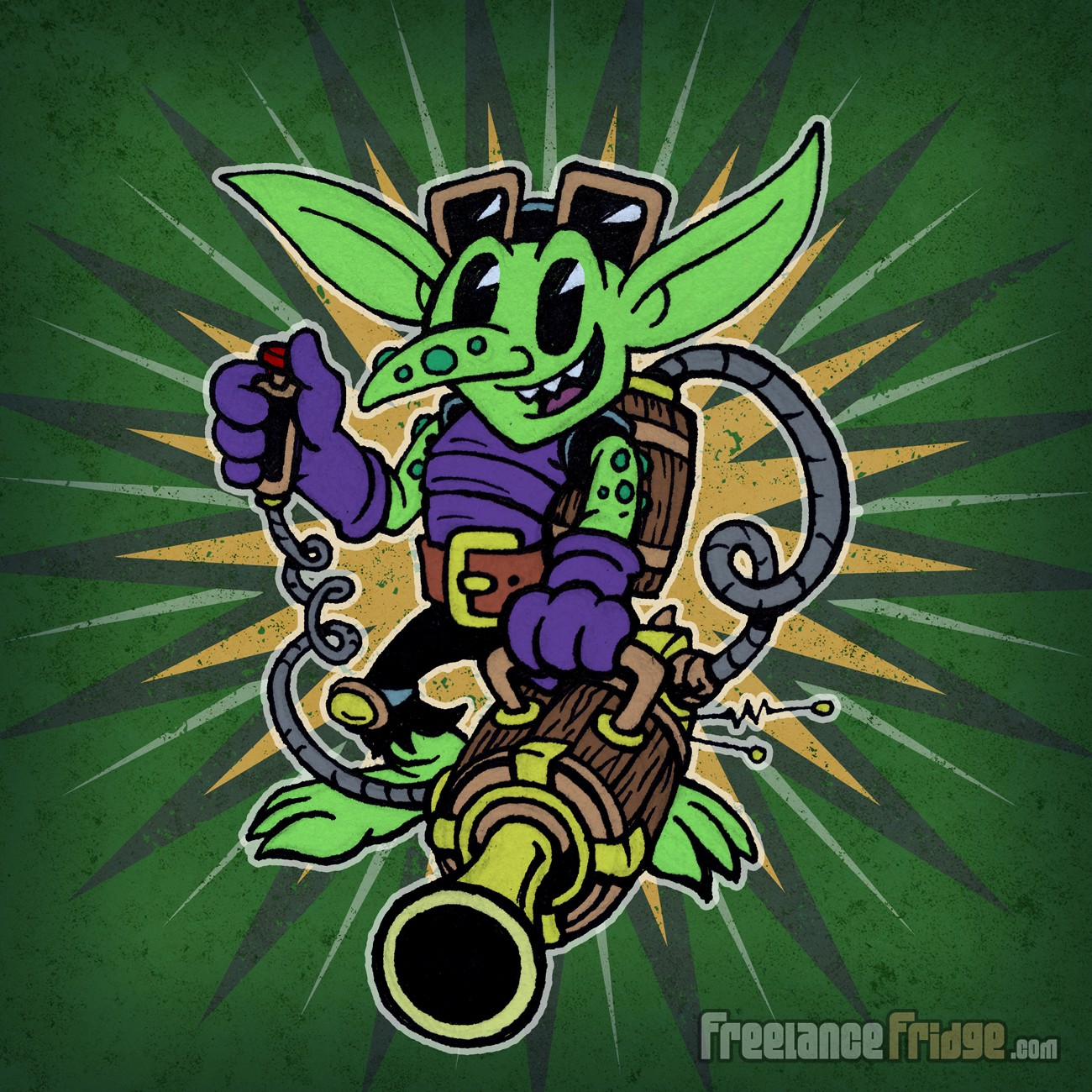 Happy Vintage Cartoon Classic Goblin with Wooden Barrel Gun on Color Starburst Background