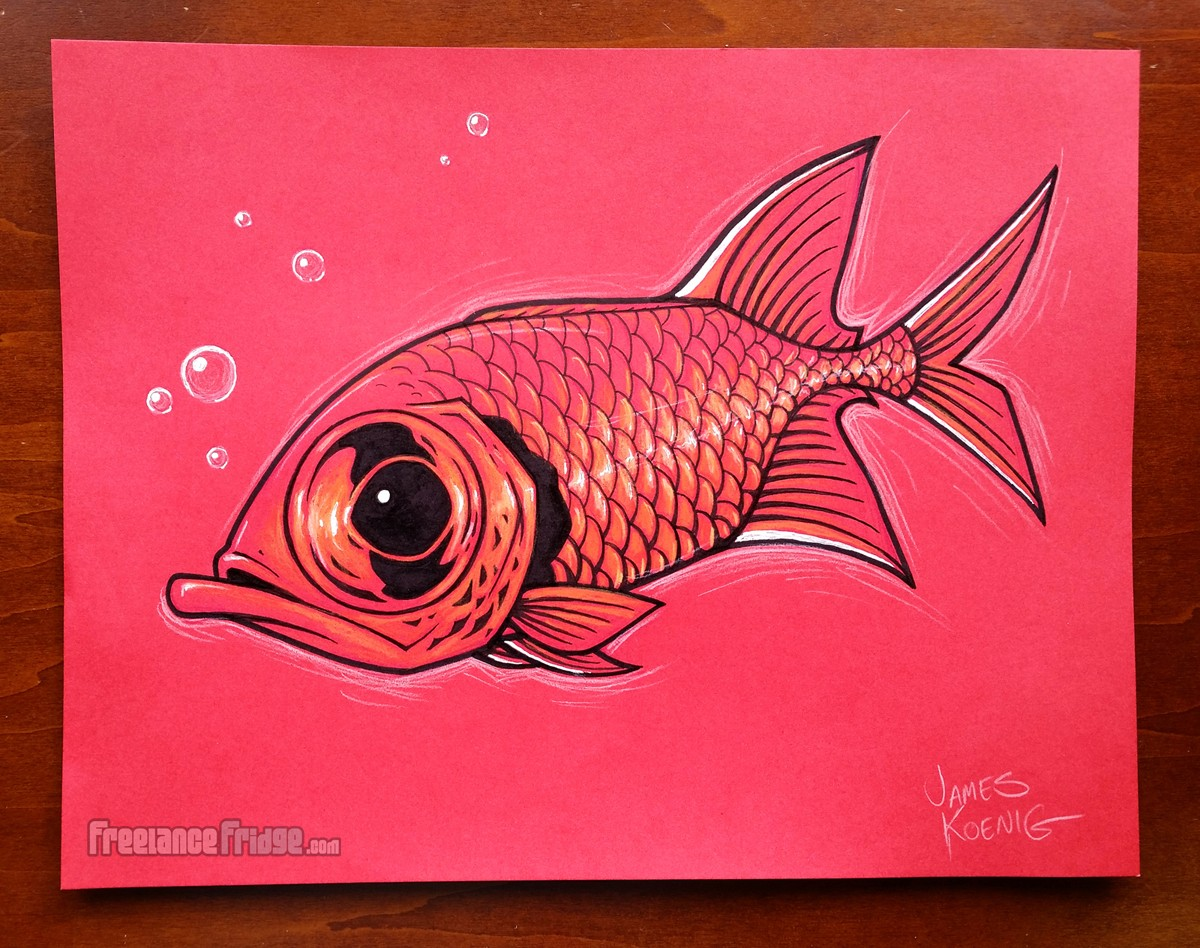 big eye red squirrelfish inked cartoon fish drawing on red paper