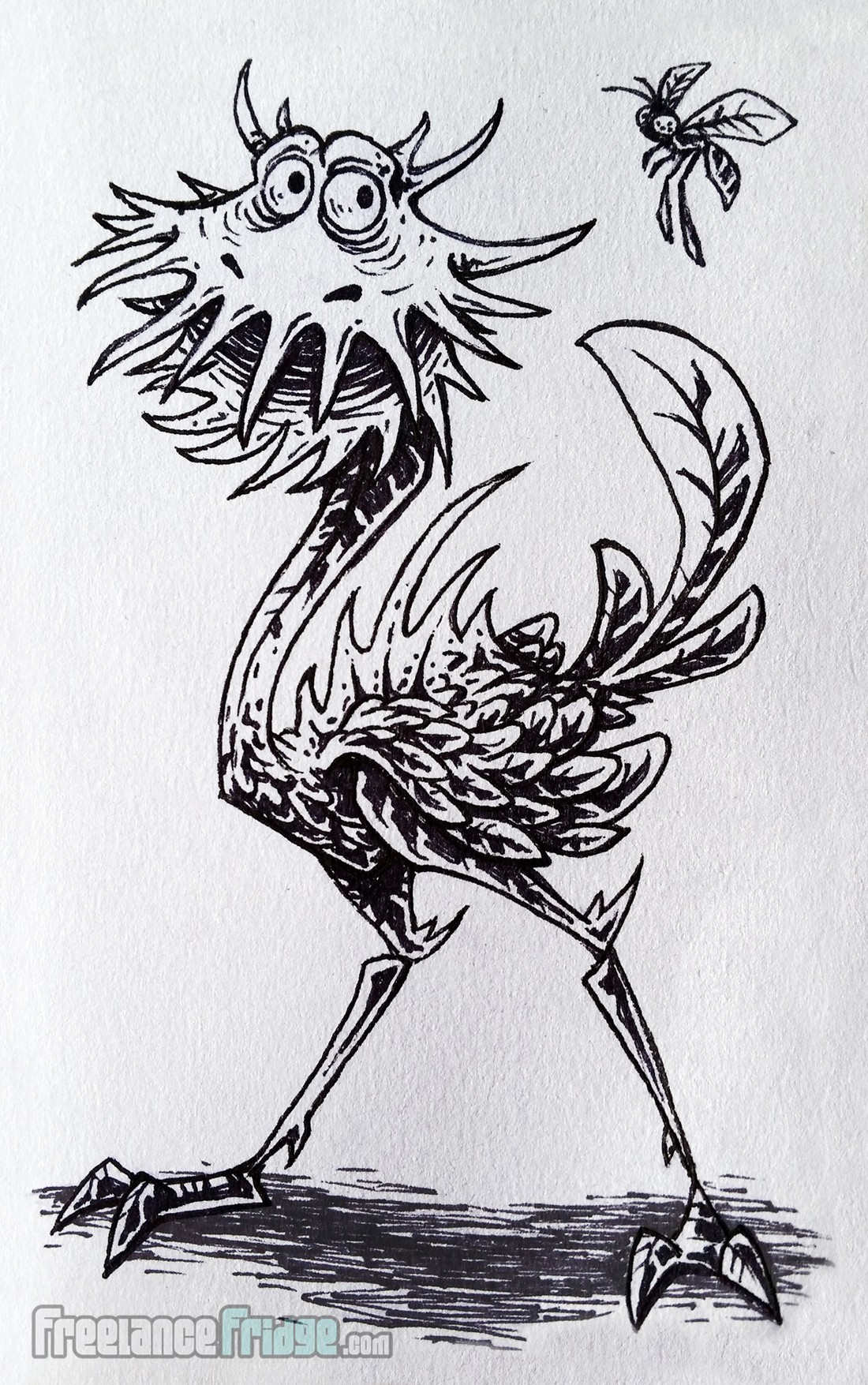 venus fly trap ostrich cartoon creature monster inked drawing