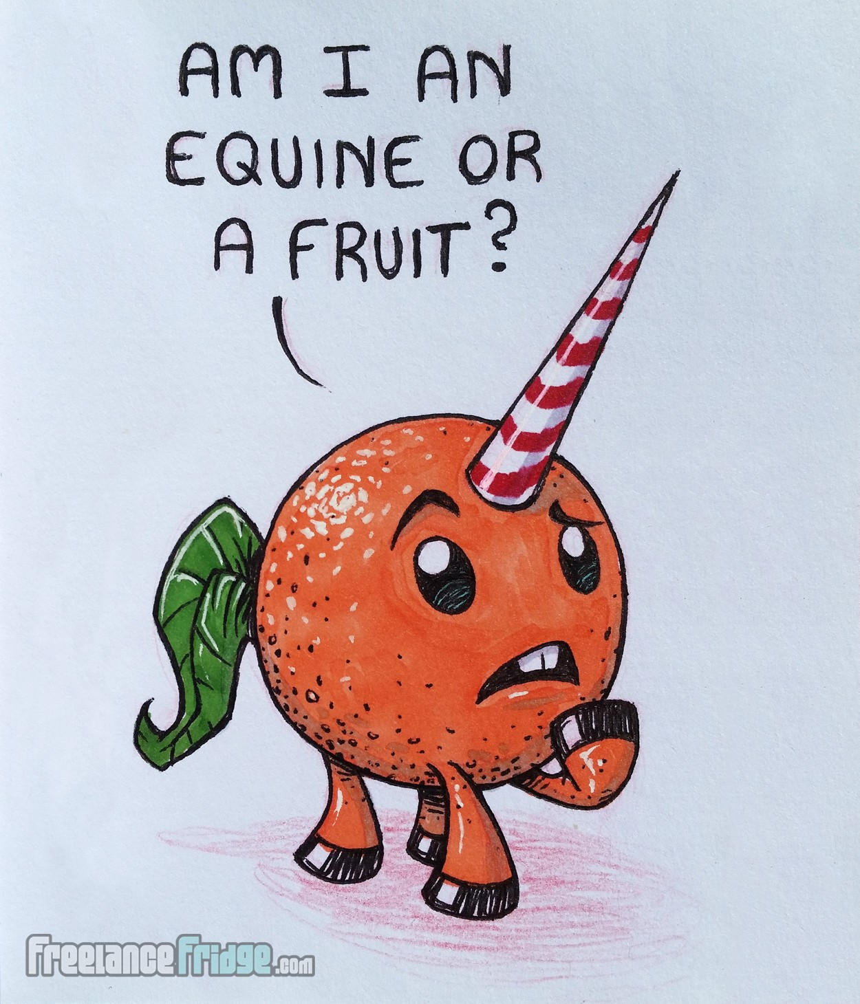 Orange Fruit Unicorn Cartoon Creature Monster Inked and Colored Drawing