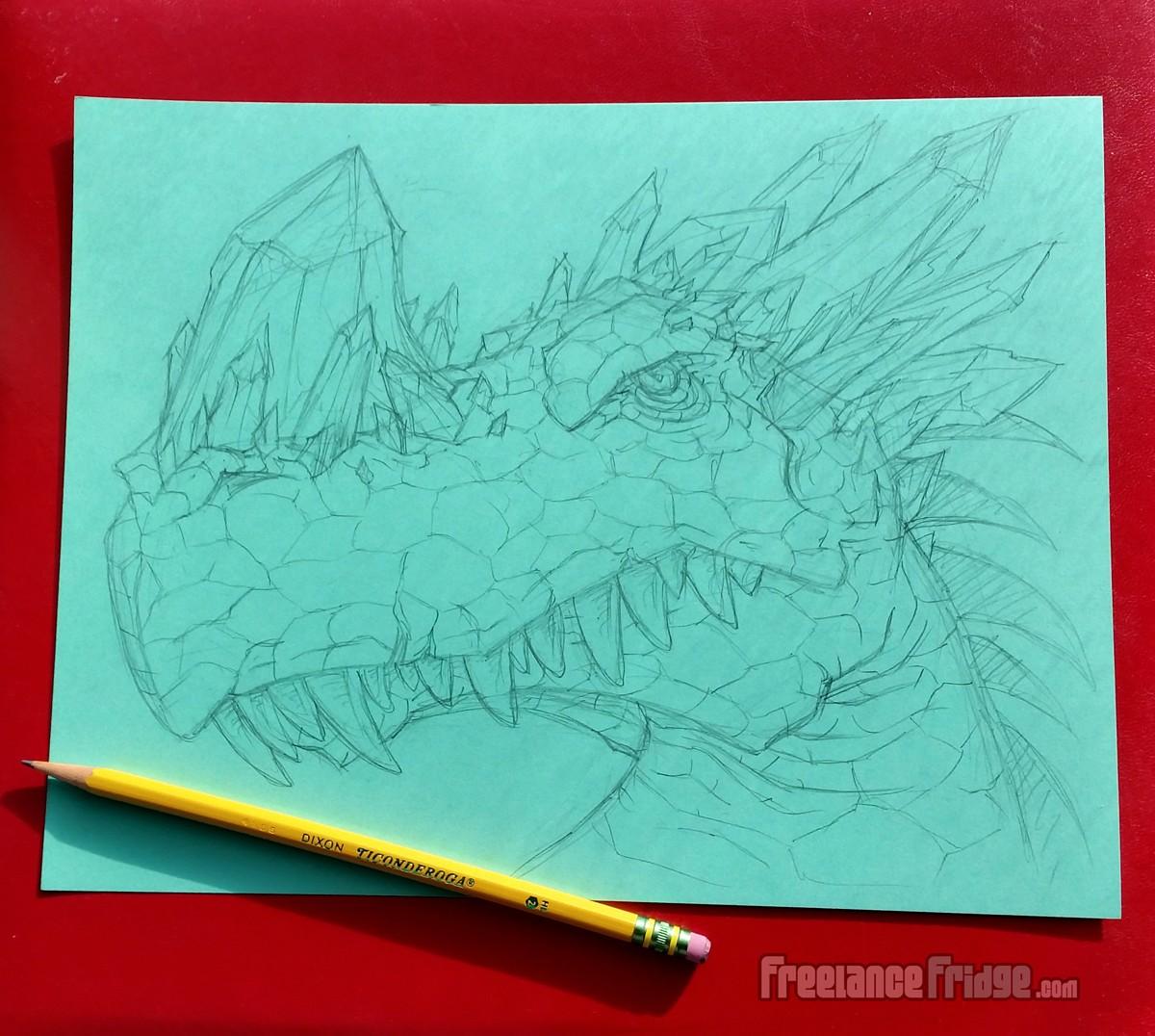 Crystal Horned Dragon Head Sketch Pencil Drawing