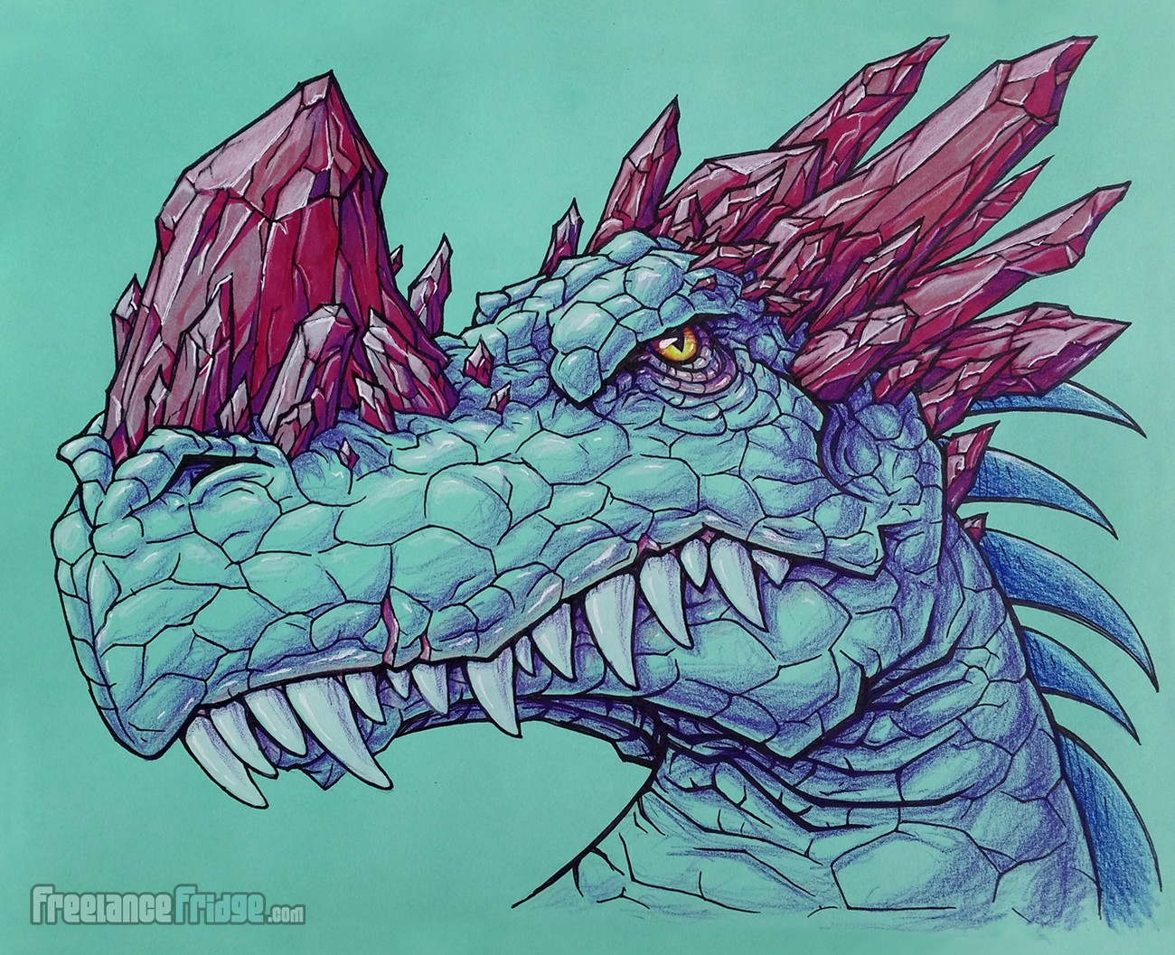 Crystal Horned Dragon Head Sketch Pencil Inked & Colored Drawing Concept Art