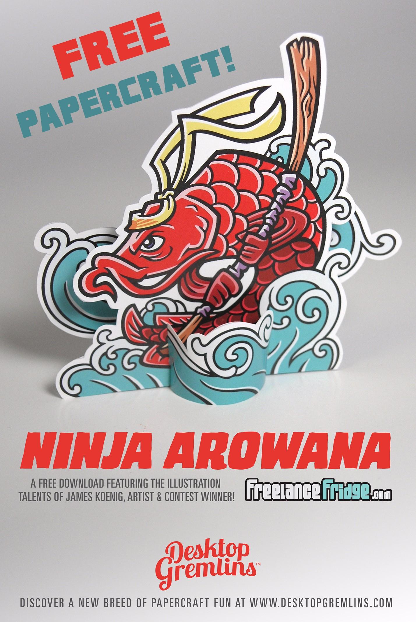 Desktop Gremlins and Freelance Fridge Free Papercraft hero Red Ninja Arowana Fish Paper Cuttable Cutout No Glue Craft