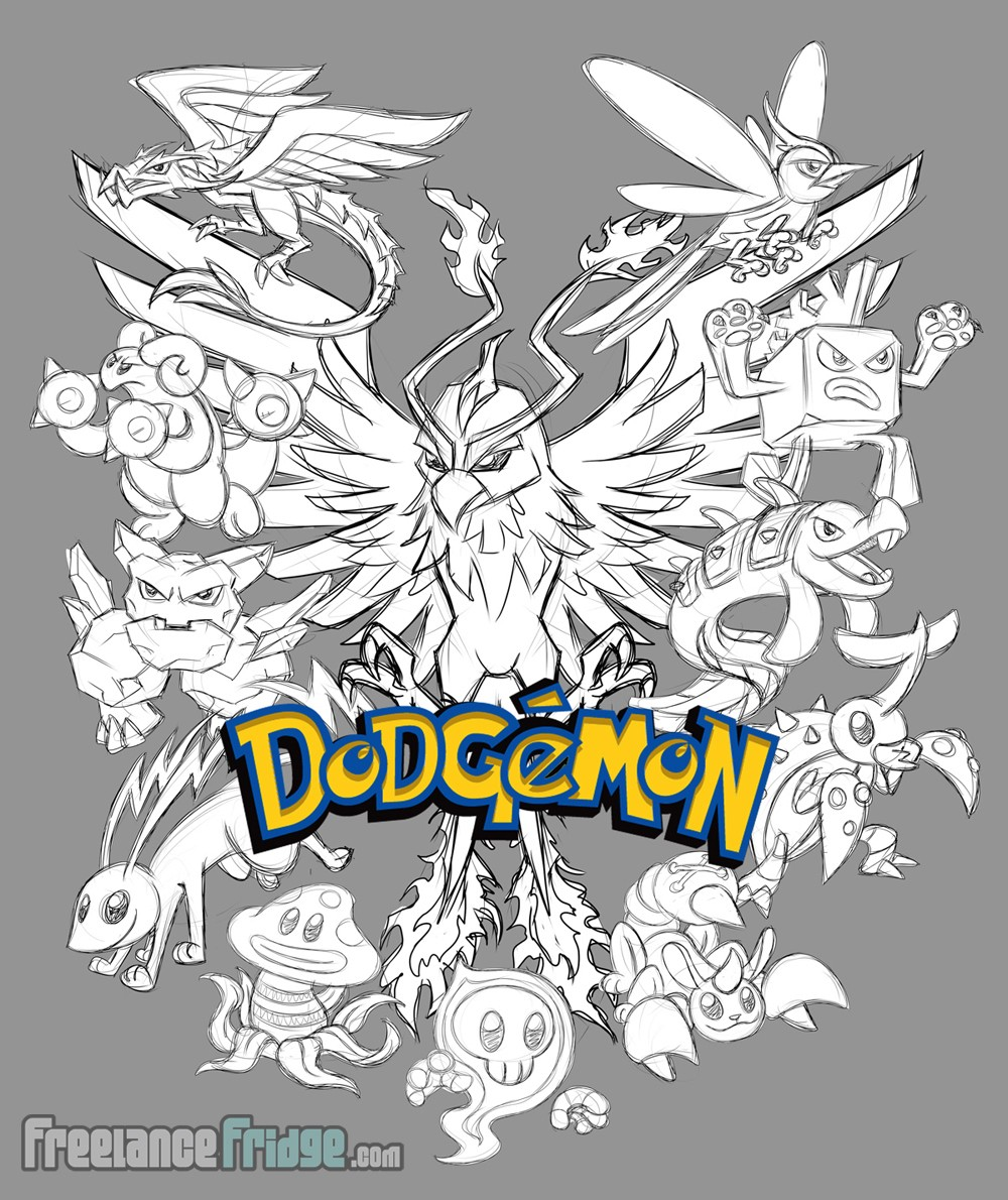 Pokemon Pokedodge characters T-shirt design Rough Sketch for dodgeball league sports team