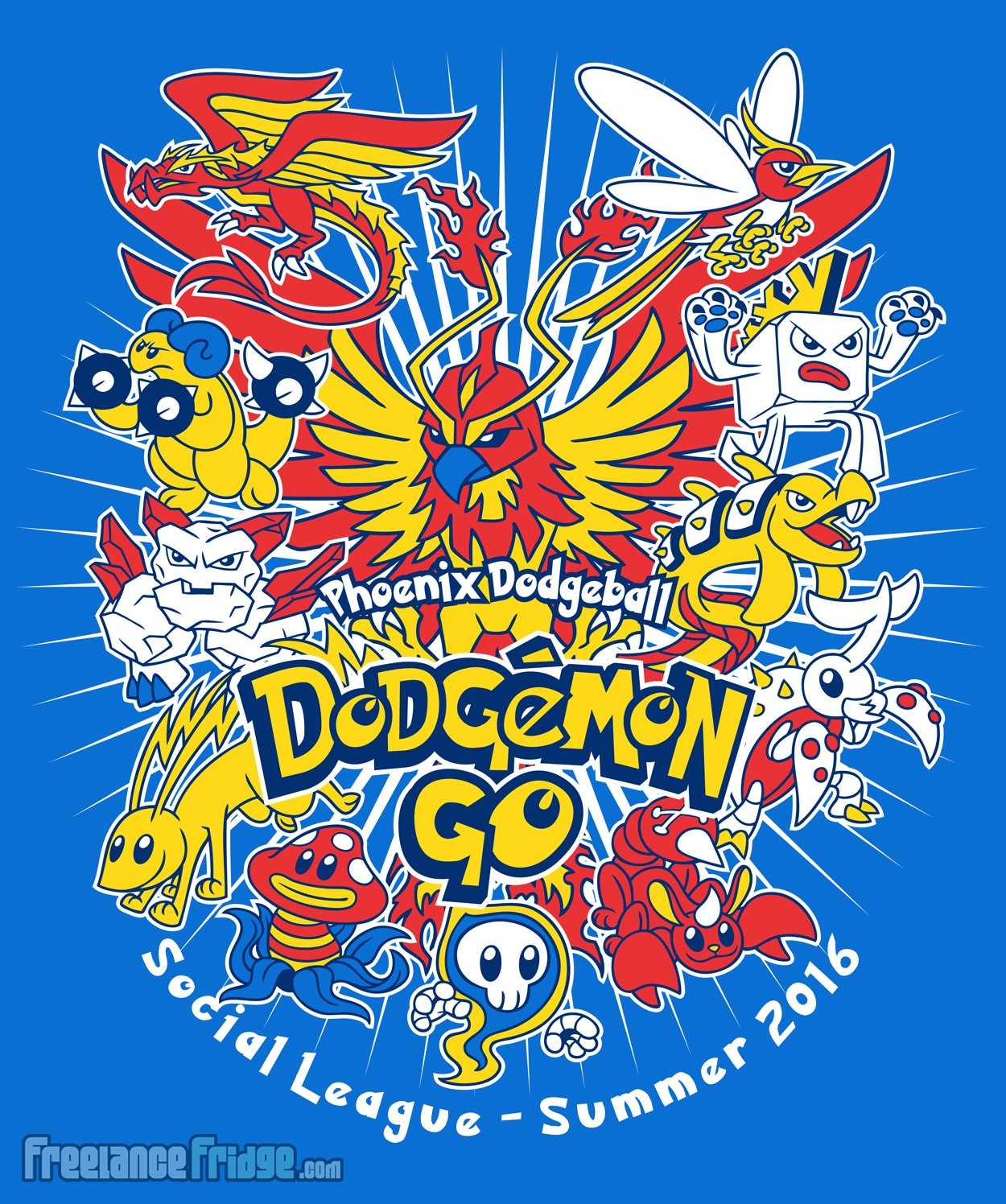 Pokemon Pokedodge characters T-shirt design for dodgeball league sports team