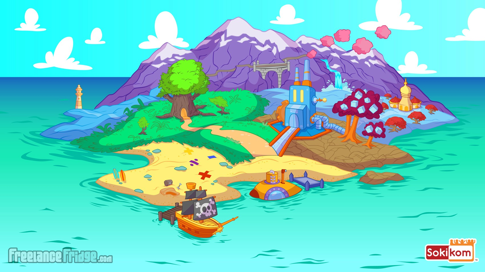 Sokikom island online video game map for choosing educational math games main