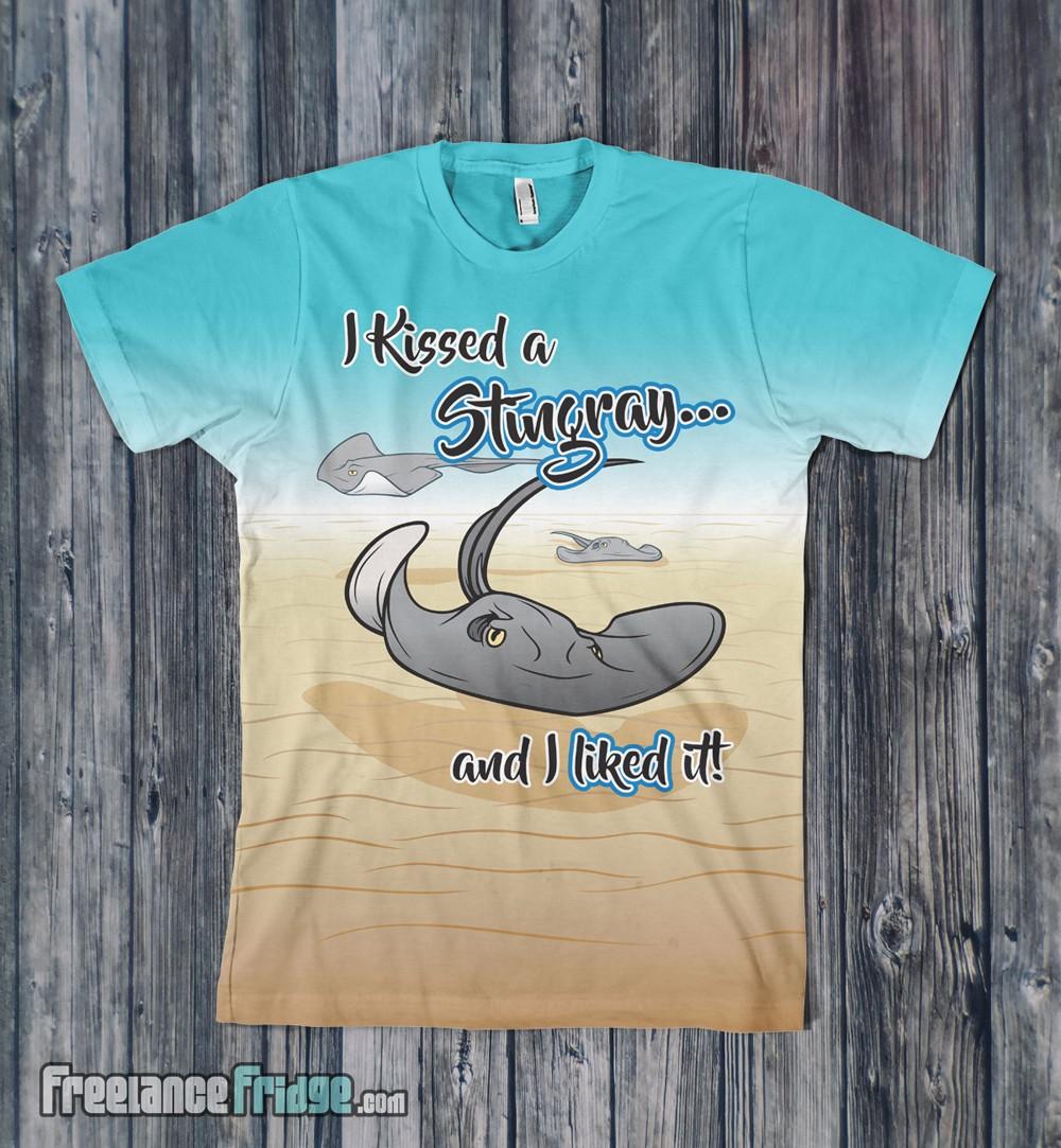Stingray Caiman Islands Caribbean T-shirt design front