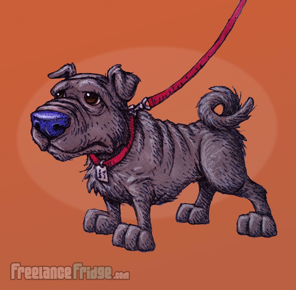 Cartoon Dog Shar Pei Pug Mixed Breed Pen and Color Markers Drawing Illustration