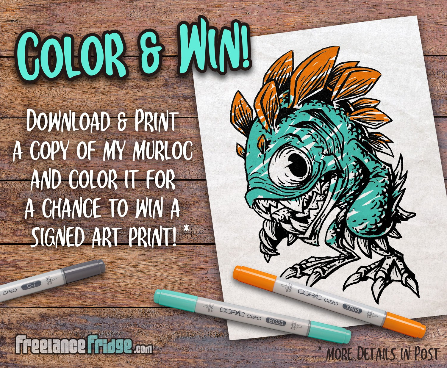 Murloc Fish Drawing Comic Coloring Contest Details