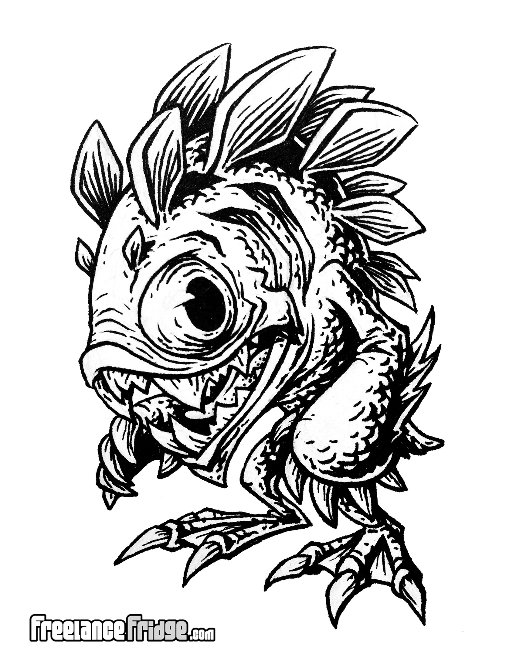 Murloc Fish Humanoid Monster Creature Concept Cartoon Black And White Adult Coloring Page Drawing Illustration