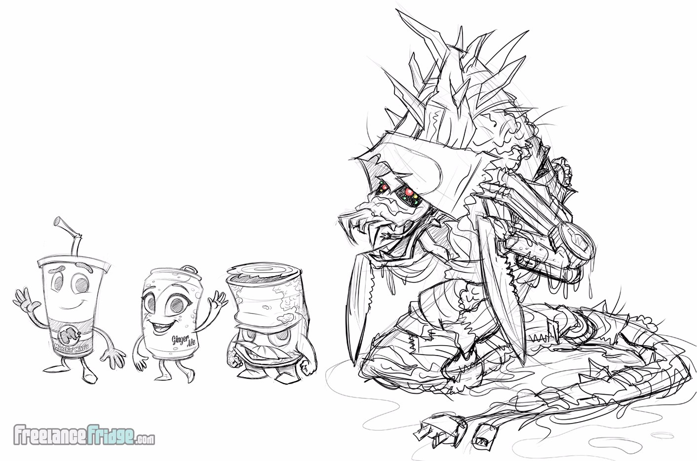 Character Design Sketches Concepts for Childrens Book Ricky and the Grim Wrapper Cups Cans Trash Supporting Characters