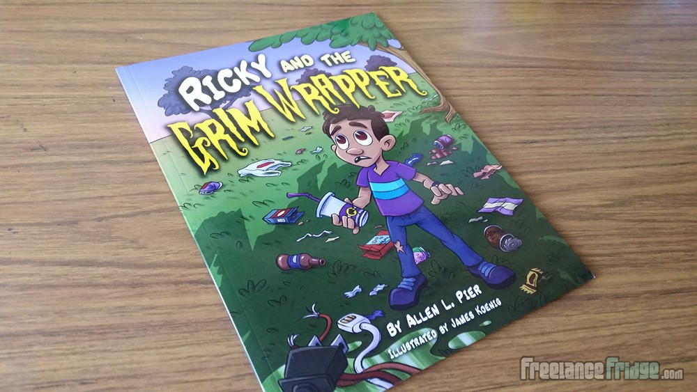 Childrens Book Final Printed Illustrator for Ricky and the Grim Wrapper Boy Throwing Trash Cover