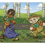 Childrens Book Illustration Interior Page 02 for Ricky and the Grim Wrapper Boy Scouts Picking Up Highway Trash