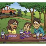 Childrens Book Illustration Interior Page 03 for Ricky and the Grim Wrapper Family Having Fast Food Picnic at Park