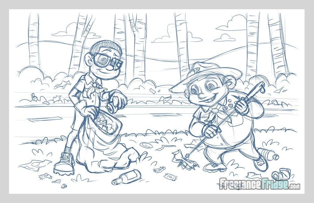 Childrens Book Illustration Interior Page Sketch 02 for Ricky and the Grim Wrapper Boy Scouts Picking Up Highway Trash