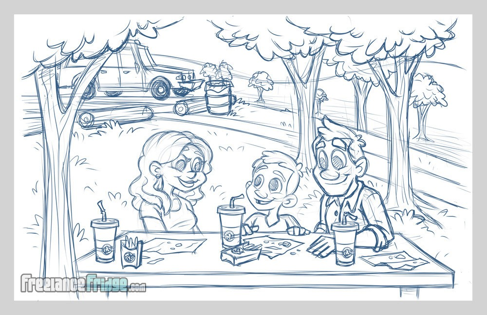 Childrens Book Illustration Interior Page Sketch 03 for Ricky and the Grim Wrapper Family Having Fast Food Picnic at Park