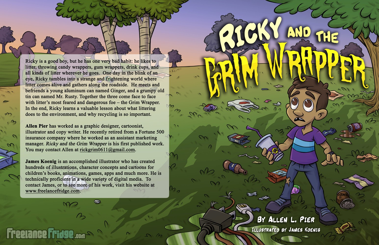 Cover Illustration Wrap Around for Childrens Book Ricky and the Grim Wrapper Boy Trash Recycling
