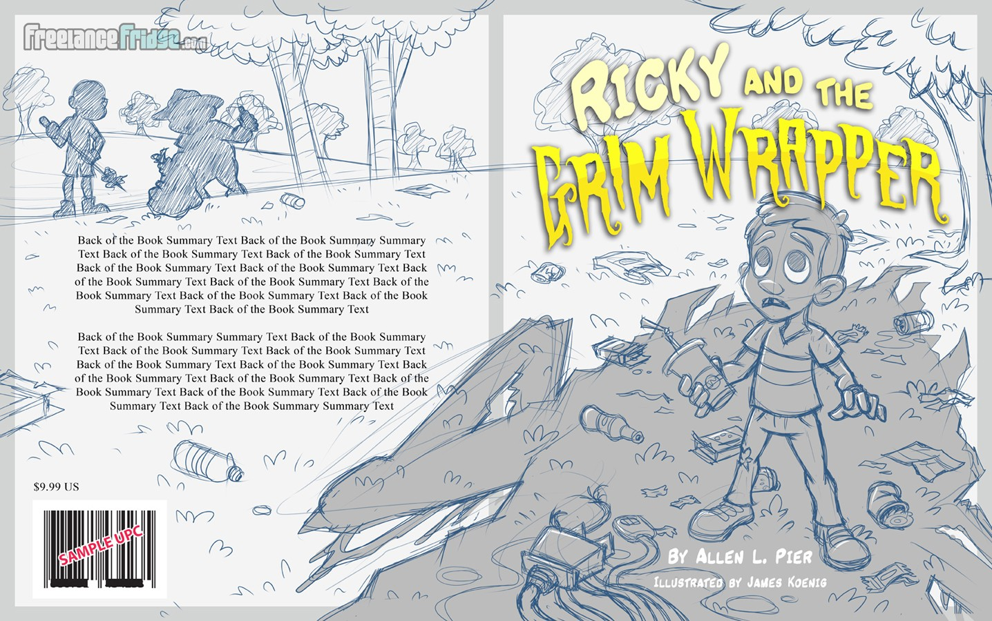 Cover Sketch Wrap Around for Childrens Book Ricky and the Grim Wrapper Boy Trash Recycling