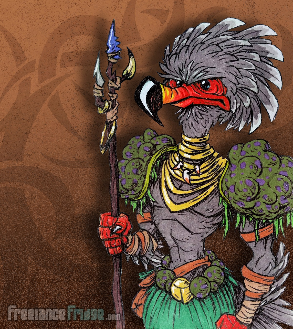 Primitive Tribal Bird Warrior with Spear Character Creature Concept Cartoon Pen and Color Markers Drawing Illustration