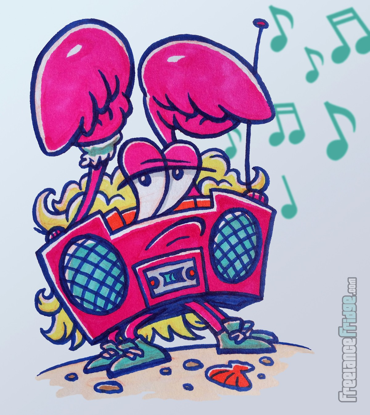 Hot Pink Crab Boombox Funny 1980s Character Creature Concept Cartoon Pencil and Color Markers Drawing Illustration