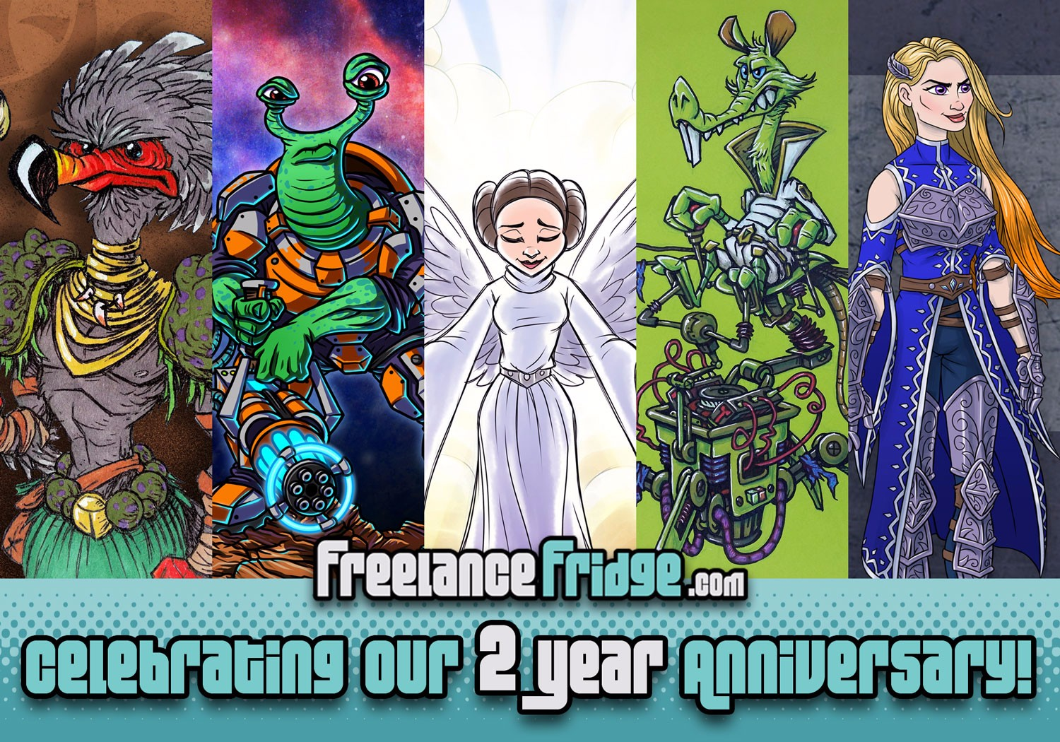 Freelance Fridge Full-Time Freelance Artist 2nd Anniversary in Business Creating Character Artwork and Illustrations