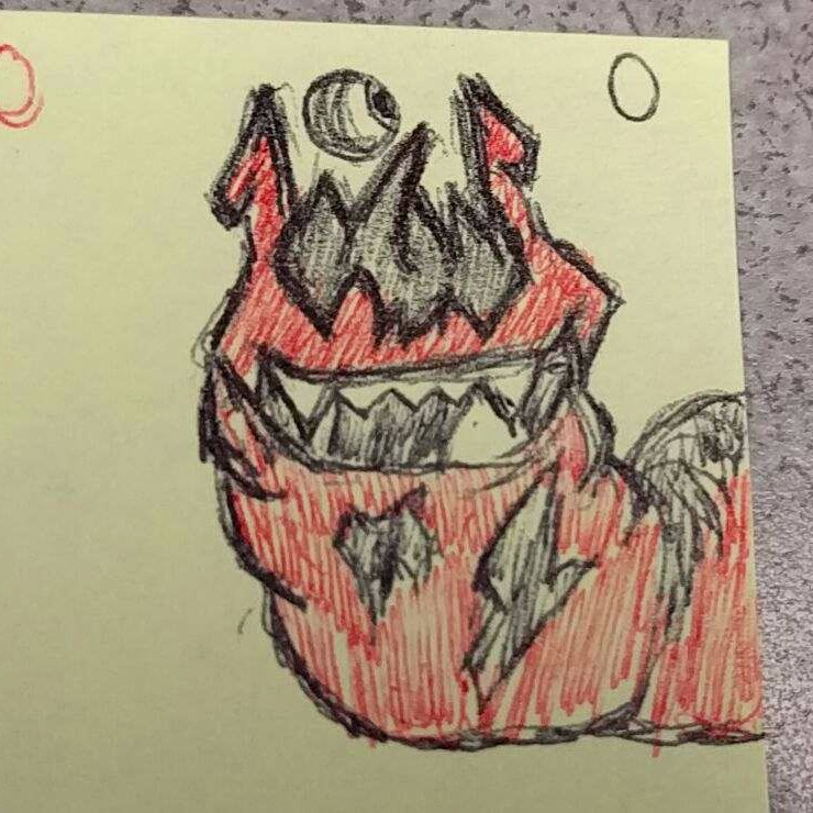 Red Slug With Floating Cyclops Eye Character Creature Concept Cartoon Pen  Drawing Illustration Original Post