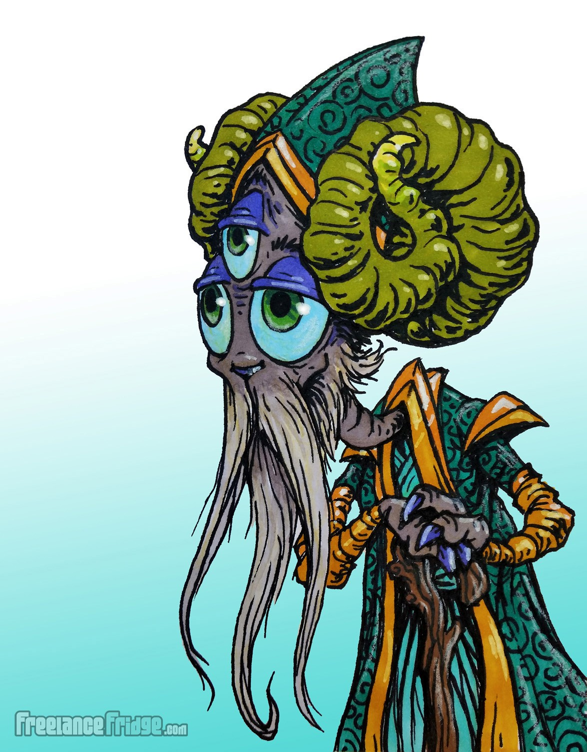 Wise Old Three-Eyed Bearded Alien Shaman Character Creature Concept Cartoon Pen and Color Markers Drawing Illustration