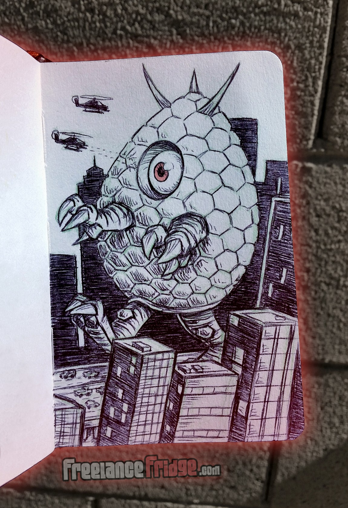 Big Egg Alien Kaiju Character Creature Concept Cartoon Pencil and Ball Point Pen Sketch Drawing Illustration