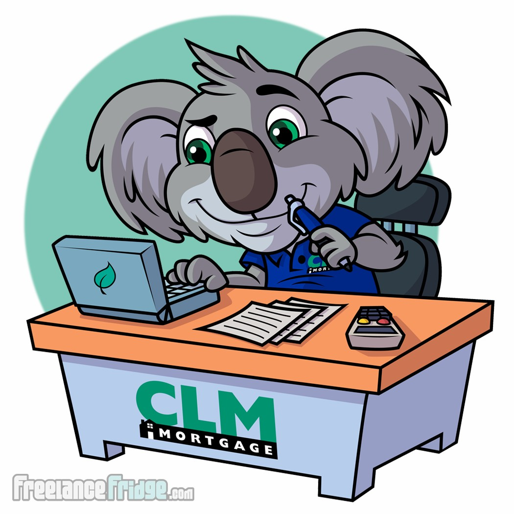 Koala Cartoon Character Design Business Mascot Vector Pose 3 sitting at desk with computer working