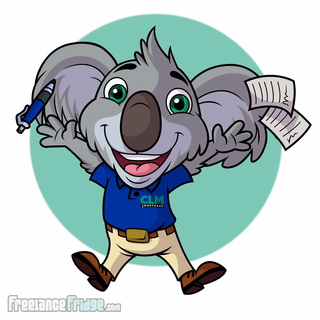 Koala Cartoon Character Design Business Mascot Vector Pose 4 excited jumping papers flying